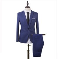 Wholesale navy blue suit skinny fit resale online - Custom Made Royle Blue Black Men Suits Skinny Wedding Suits Bridegroom Business Slim Fit Formal Tuxedos Piece Blazer Prom Jacket Pants