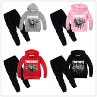 Wholesale children hooded tracksuits online - Game Fortnite Kids Hoodies Suits Children Battle Royale Sweatshirt Tracksuit Long Sleeve T Shirt Sweater Sports Pants Outfit Boys girls Gift