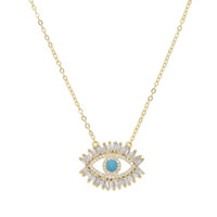 Wholesale turkish eyes resale online - 18k gold plated Turkish evil eye necklace lucky girl gift Baguette cubic zirconia turquoise geomstone top quality evil eye jewelry
