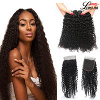 Wholesale afro kinky human hair extensions - Malaysian Kinky Curly 3 4 Bundles with 4x4 Lace Closure Brazilian Afro Kinky Virgin Human Hair With Closure Unprocessed Human Hair Extension