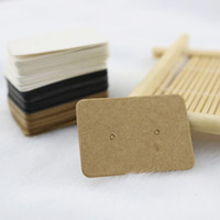 Wholesale Printed Paper Tags - 100pcs 25*35mm No Printing Kraft Paper Jewelry Packing Card Thick Kraft Paper Earring Card Jewelry Earring Earring Packing Card