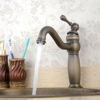ingrosso rubinetti a mano singola in bronzo-Spedizione gratuita Bronzo antico finitura PVD singolo foro / maniglia bagno lavandino rubinetto miscelatore RUBINETTO