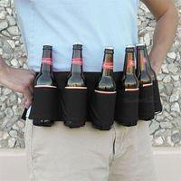 bolsas de botellas negras al por mayor-Botella portátil Cintura Bolsa Cinturón de cerveza Bolsa Pure Black Handy Botellas de vino Outdoor Montañismo Acampar Senderismo Bebida Puede Titular 13jm WW