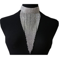 largo collar de cadena sexy al por mayor-3 colores de largo borla choker joyería de cristal brillante rhinestone cadena collar sexy collar para las mujeres de moda joyería de la novedad