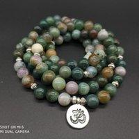 indischen buddha charms großhandel-108 Mala Indian Onyx mit Lotus OM Buddha Charme Yoga Armband oder Halskette Naturstein Schmuck Dropshipping