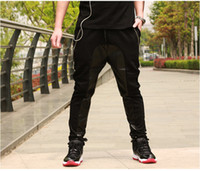 pantalones de chándal de pyrex al por mayor-Pantalones de deporte de cuero de la entrepierna de la gota Pantalones de chándal de cuero de los hombres Pantalones de jogging Hiphop Harem Baggy Pyrex de cuero