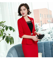 jaqueta de uniforme vermelho feminino venda por atacado-Primavera Verão 2018 Moda Casual Blazers Vermelhos Ternos Com Jaquetas Casaco Blazers Para Mulheres Escritório Trabalho Desgaste Uniforme Estilos