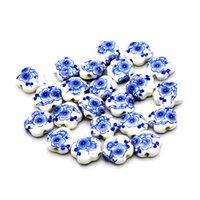 porzellan perlen blumen großhandel-15 * 6mm keramik perlen porzellan diy perlen handgemachte blume loch perlen für schmuck machen