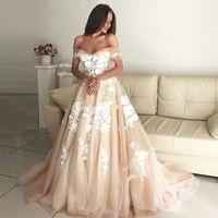 vestido de manga larga estampado floral al por mayor-2019 vestido de bola Champagne vestidos de novia fuera del hombro apliques tulle vendaje vestidos de novia elegantes vestidos de novia ata para arriba de nuevo