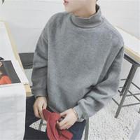schwarzer rollkragenpullover großhandel-Korean Fashion Style Hoodie Rollkragen Sweatshirt Männer Solide Baumwolle Schwarz Grau Übergroße Crossfit Pullover Homme Weihnachtsgeschenk