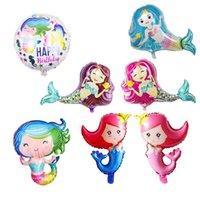ingrosso le ragazze cartoon cartoon foto-Cute Cartoon Mermaid Foil Balloon Decorazione per rifornimenti Baby Shower festa nuziale di compleanno Kid Girls Room Photo Prop