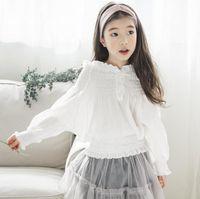 Wholesale elegant ruffled blouses - 2018 New Korea style girl boat neck white ruffles girl shirt spring summer girl casual elegant comfortable shirt 100% cotton 110-160cm