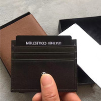Wholesale woman slim card holder - Men Women Casual Credit Card ID Holder Real Leather classic Black Brown Brand MB Mini Purse Thin Coin Purse Pocket Bag Slim Wallets