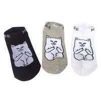 Wholesale slipper socks online - Harajuku Middle Finger Cat Socks Hipster Cattoon Fashion Patterned Funny Socks Slippers Summer Thin Men Cotton Ankle Socks Low