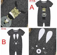 Wholesale cat jumpsuits - ins Summer Kids cartoon cat print Romper Jumpsuits Newborn Baby Girls solid gray animal Romper Jumpsuit 0-2years