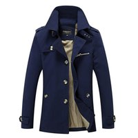 новая одежда оптовых- New Men's Casual Trench Coat Wind Breaker Fashion Designer Plus Size Casual Trench For Men Pull Homme Outwear 5XL AF1306