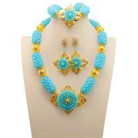 Wholesale chunky bridal jewelry - African Lake Blue Wedding Beads Jewelry Set Chunky Bridal Crystal Necklace Earrings Set Dubai Gold Women Costume Jewellery Set