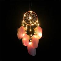 dekoratif sarkıt farları toptan satış-Yaratıcı LED Işık Rüya Catcher Rüya Tüy Kolye Kızlık Kalp Işık Renk Rüzgar Çan Lamba Dekoratif Windbells Işıkları 15 48xr Y