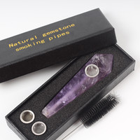 Wholesale black quartz crystal wand resale online - Natural Amethyst Stone Quartz Crystal Pipe Smoking Tobacco Wand Healing Point Obelisk Wand Cigars Pipes Wand For Sale One Box