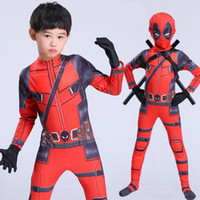 trajes de corpo inteiro para adultos venda por atacado-Hot Kids Deadpool Cosplay Halloween Cosplay Full Body Traje Deadpool Adulto Impressão Digital Lycra Costume