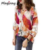 5fe9a593171 Magiray Boho Vintage Tropical Print Blouse Women Top Big Plus Size Loose Shirt  Female Lace Patchwork Befree Chemise Femme C133