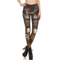 leggings de leopardo azul al por mayor-2018 Womens Digital Steampunk Imprimir deporte pantalones de yoga Skinny Workout Leggings elásticos de secado rápido Pantalones de compresión