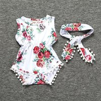 Wholesale toddler onesies wholesale - Newborn girl clothes summer flower romper jumpsuit onesies With Headband kid clothing boutique outfits babies girls toddler 0-24M LC824