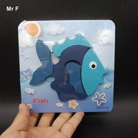 Wholesale Wooden Fishing Game - Fun Game Fish Puzzle Lovely Kid Educational Toy Jigsaw Cartoon Assembly Brain Game Teaching Prop Gadget