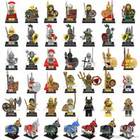 Wholesale Mixed Horse - Wholesale Mix Order Medieval Figures Atlantis Viking Egyption Warriors Dragon Knights Spartacus Armored Horse Mini Building Blocks Figure