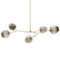 neuheit weihnachtsbaum lichter großhandel-LED Glas Kronleuchter Beleuchtung moderne Lampe Neuheit Pendelleuchte natürlichen Ast Suspension Weihnachten Licht Hotel Esszimmer