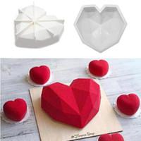 ingrosso torte di compleanno forma del cuore-Silicone a forma di cuore Torta al cioccolato Bakeware Compleanno stampo matrimonio 3D torta fondente stampo teglia da forno Decorazione di accessori