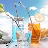 Wholesale tool party - Stainless Steel Straw Eco-friendly Drinking Straws 8.5 inch Practical Beer Tool Straight Bend Drinking Straw for Party