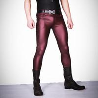 leggings de couro do falso do zipper venda por atacado-Homens sexy Faux Leather Matte Calças Lápis Calças Skinny Casual Leggings Slim Fit Zíper Apertado Lingerie erótica Desgaste Clube