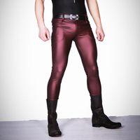 polainas mates al por mayor-Sexy Hombres de Cuero de Imitación Mate Lápiz Pantalones Pantalones Pitillo Casual Leggings Slim Fit Cremallera Erótica Lencería Erótica Club Wear