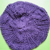 ingrosso berretti acrilici-Beanie Acrylic Soft Warm Fluffy Casual Beret Hat Knit Cap per la moda donna