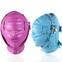 Wholesale 2017 New Fetish PU Leather BDSM Bondage Hood SM Totally Enclosed Mask With Lock Slave Restraints Sex Toy For Couples Sex Product Y18102405