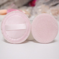 Wholesale beauty cosmetics logos - Cotton Dry Powder Puff with Ribbon Hold Soft Sponge 100pcs set Facial Cosmetic Puff Beauty Foundation Makeup Tools Puffs can print logo