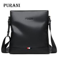черная кожаная праща оптовых-PURANI повседневная черный сумка мужчины кожаные сумки Crossbody сумки для мужчин небольшой сумка человек слинг сумки мужские сумки