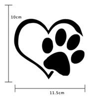 pfote aufkleber vinyl großhandel-2 Teile / los Auto Aufkleber Herz Paw Vinyl Aufkleber Autoplanen Schöne Hundefüße Autokörper Dacel 2 Farben