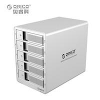 pc sabit diskler toptan satış-ORICO 9558U3 5-Bay 3.5 USB3.0 SATA Harici Kutu Muhafaza HDD Yerleştirme İstasyonu Vaka Sabit Disk Sürücüsü Dizüstü PC için (şerit)