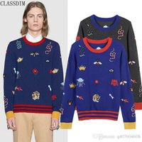 Wholesale Color Crowns - Men's Wool Knitted Sweater Men's Snake Bee Crown Flower Embroidery Sweater Autumn And Winter Fashion Sweater Size S-L