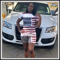 Wholesale American Flag Art - 2pcs set USA Independence Day Shorts Suit Tracksuits American Flag Pattern Short Sleeve T-shirt Shorts Pants Women Outfits CCA9718 10set