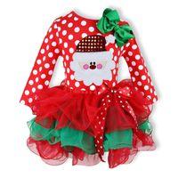 vestido de santa navidad rojo niños al por mayor-2017 Vestidos de Navidad Bebé Niñas Vestido Muñeco de nieve Santa Deer Dot Vestido Rojo Fiesta de Navidad Traje Niños Ropa Niños Regalos