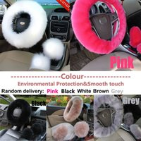 Wholesale 3Pcs set Soft Plush Wool Steering CM Wheel Cover Furry Fluffy Soft Winter Long Plush Warm Car Accessory