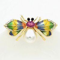 Wholesale garment butterfly - Amazing Colorful Enemal Butterfly Brooch Stunning Crystals And Pearl Pretty Insect Women Scarf Pin Garment Accessories Corsage