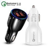 cargador de coche iphone 12v al por mayor-Cargador de coche para teléfono celular Dual USB QC3.0 Adaptador de carga rápida Cargador inteligente 12V 3.1A para iPhone Android Samsung Smartphones
