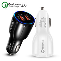 Wholesale car branded cell phones online – Cell Phone Car Charger Dual USB QC3 Fast Charge Adapter Smart Charger V A For iPhone Android Samsung Smartphones
