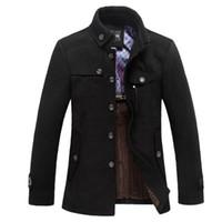 duffle coat toptan satış-Klasik Yün Bezelye Ceket Erkekler Manteau Homme 2016 Kış Moda Erkek Kalın Kaşmir Palto Casual Marka Duffle Coat Bezelye coats 3Xl