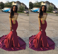 Wholesale Red Apple Charms - 2018 Charming African Style Off Shoulder Prom Dresses Gold And Burgundy Evening Gowns For Black Girls Long Sleeve Sweep Train Formal Dresses
