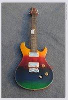 pescoço de guitarra venda por atacado-Atacado OEM personalizado 22 trastes guitarra, escala de jacarandá, corpo de mogno e pescoço cor do arco íris fisiologia guitarras elétricas